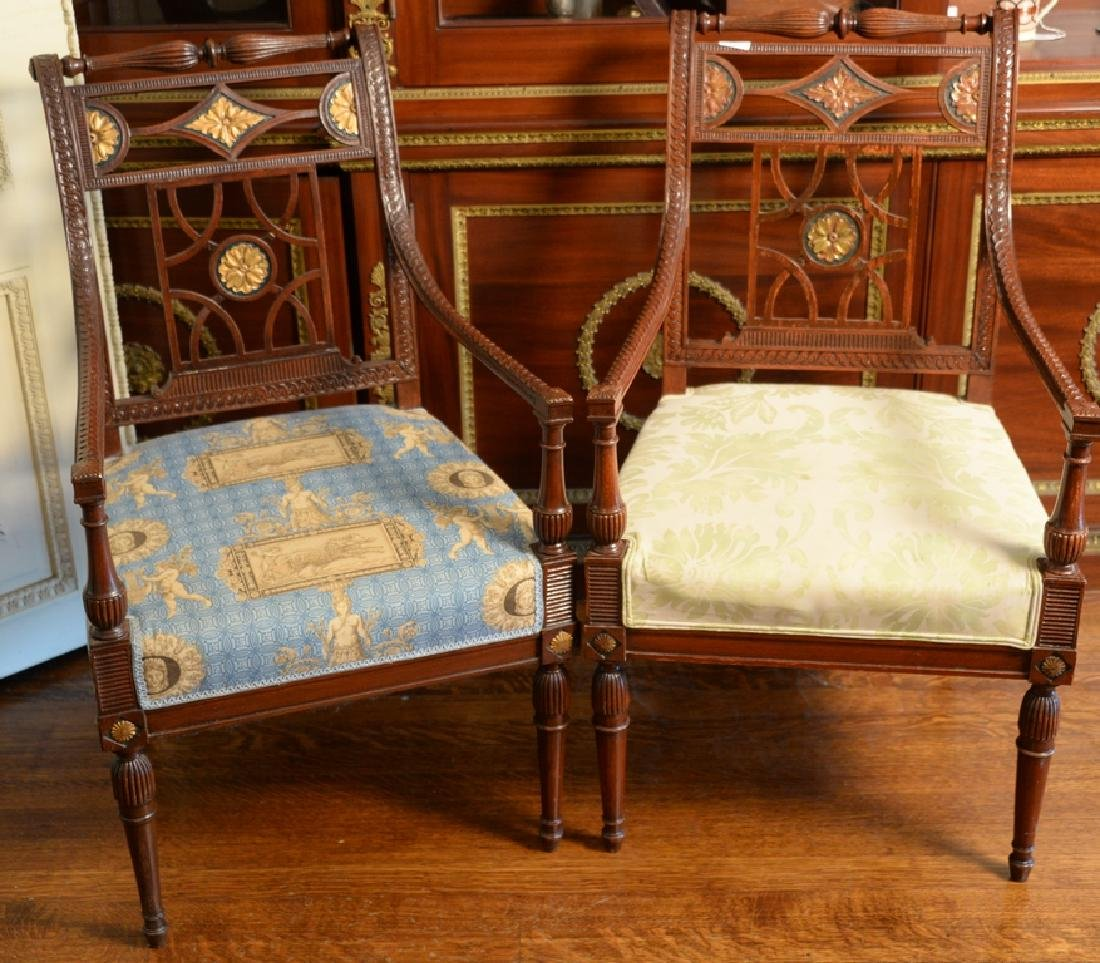 Set of eight French chairs, six side chairs and two