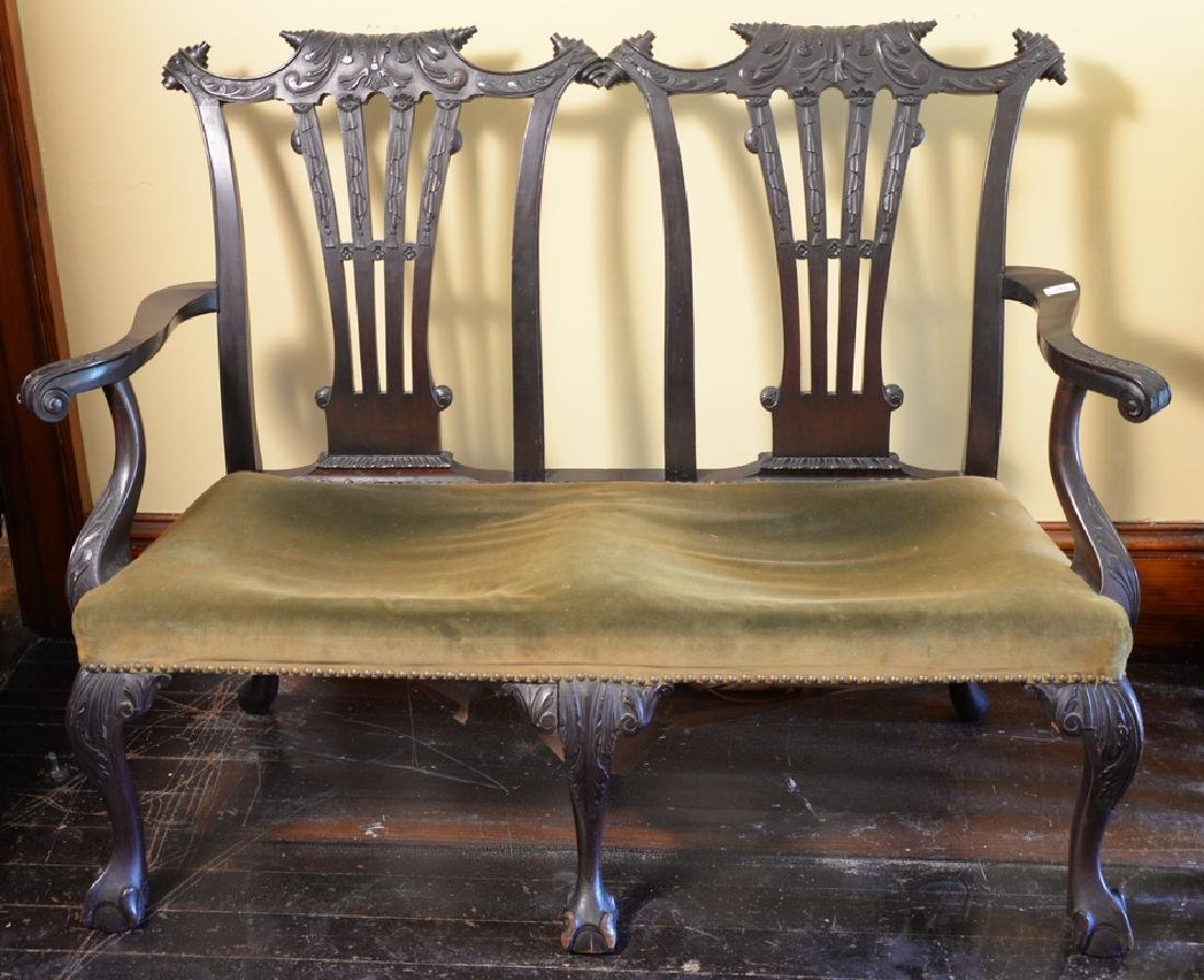 Mahogany Chippendale style double chair back settee