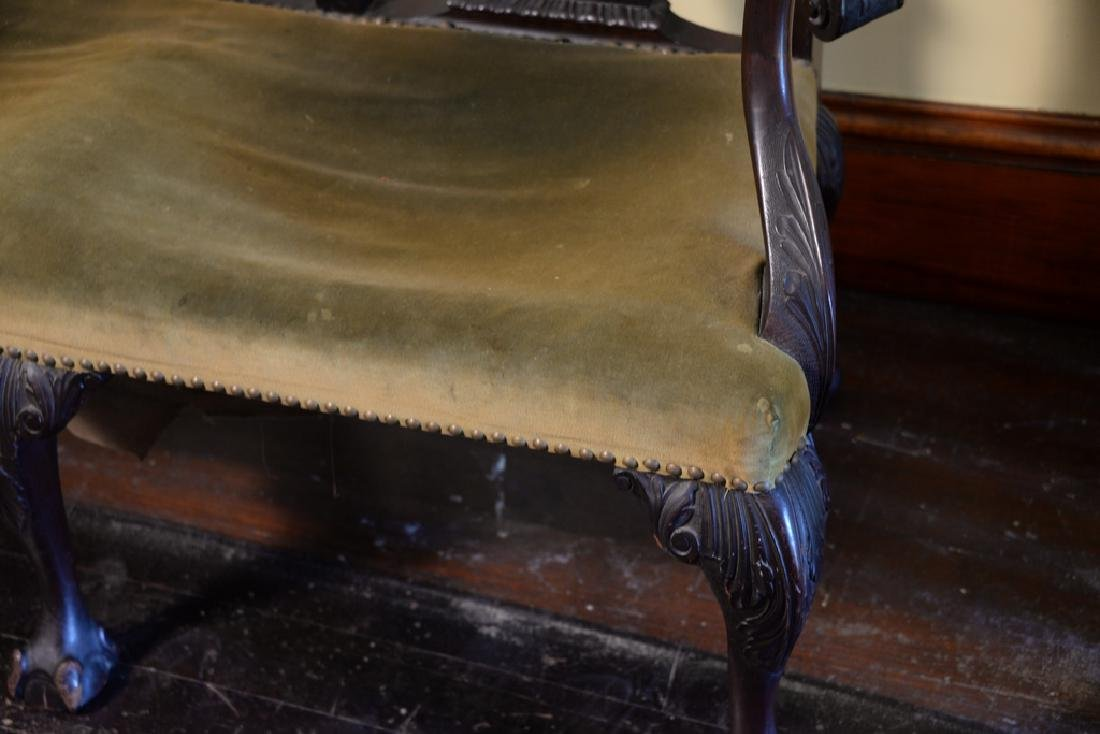 Mahogany Chippendale style double chair back settee - 3