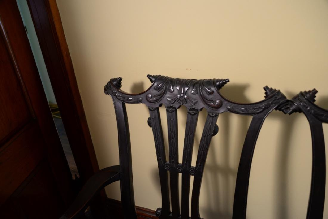 Mahogany Chippendale style double chair back settee - 4