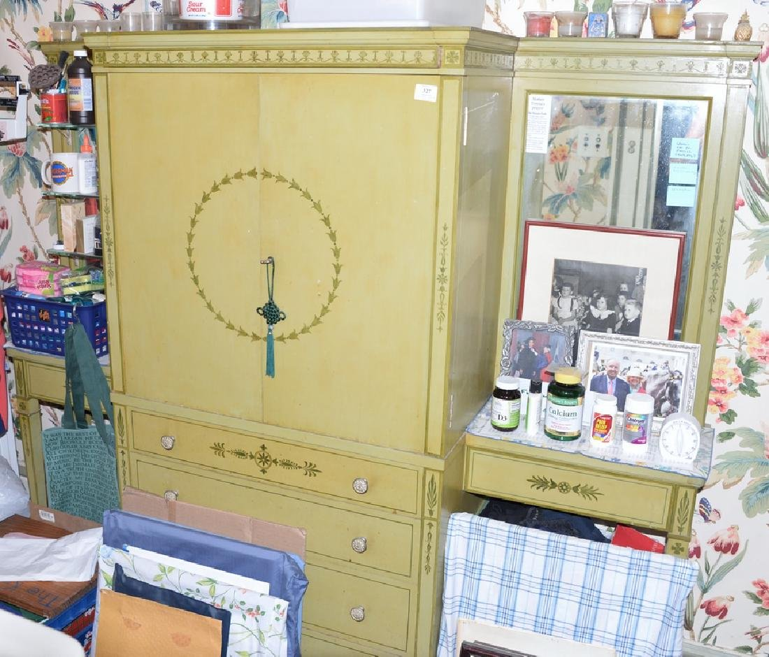 Paint decorated cabinet, center with two doors over