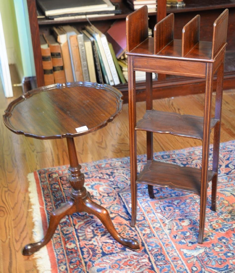 Two piece lot to include small mahogany bookstand and