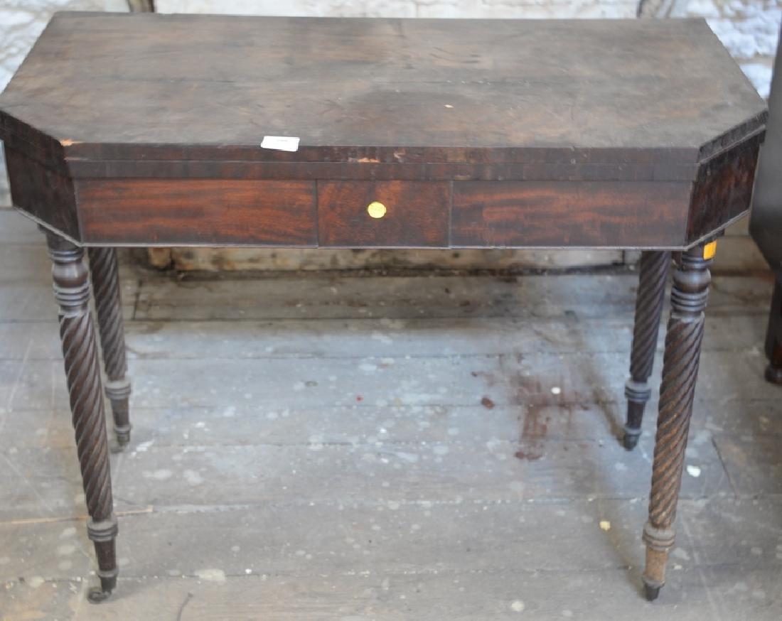Three piece lot Sheraton mahogany game table, Victorian