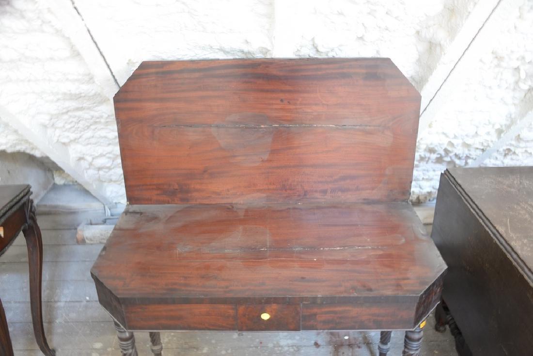 Three piece lot Sheraton mahogany game table, Victorian - 3