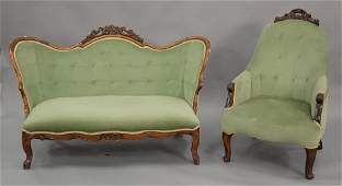 Victorian loveseat and armchair. wd. 54 in.