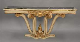 Continental style gilt decorated pier table with black