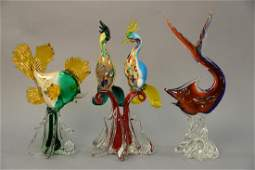 Three Murano art glass pieces including figural bird
