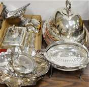Silver plate lot including two revolving tureens, one