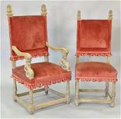 Set of six oak Continental style chairs including four