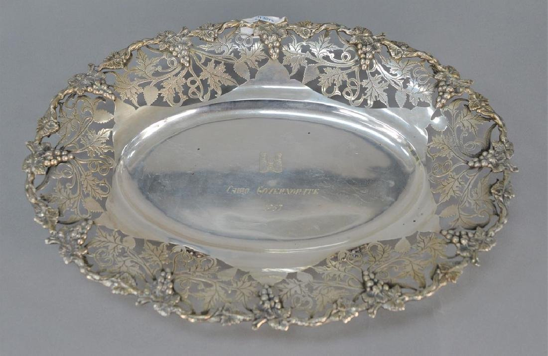 Continental silver oval bowl with reticulated grape and
