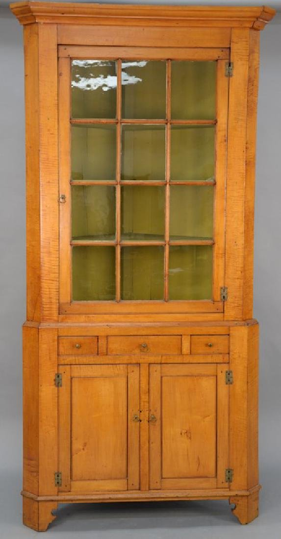 Maple and tiger maple two part corner cupboard.  height