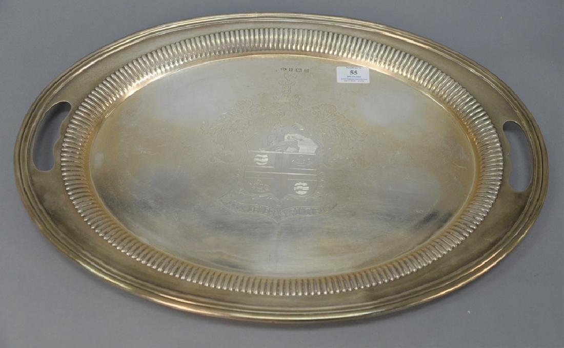 English silver two handled tray with family coat of