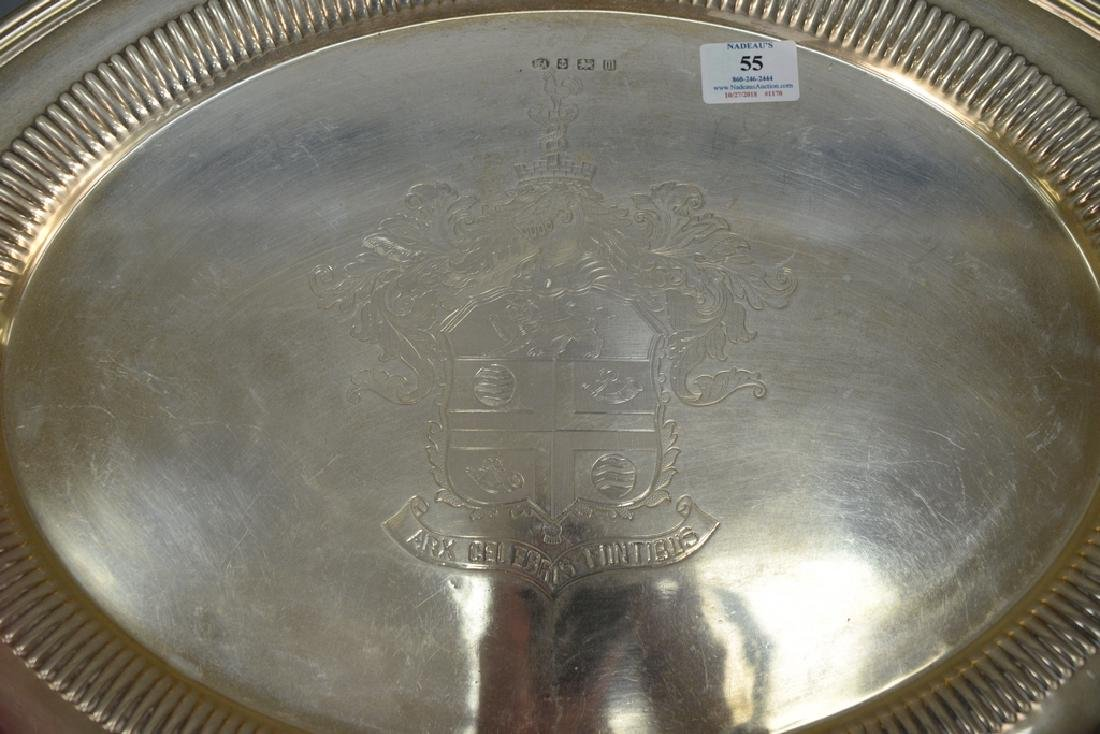 English silver two handled tray with family coat of - 2