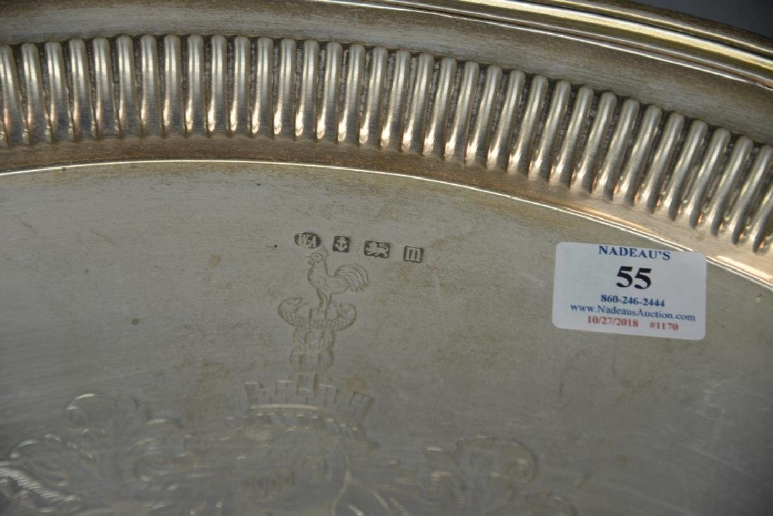 English silver two handled tray with family coat of - 3