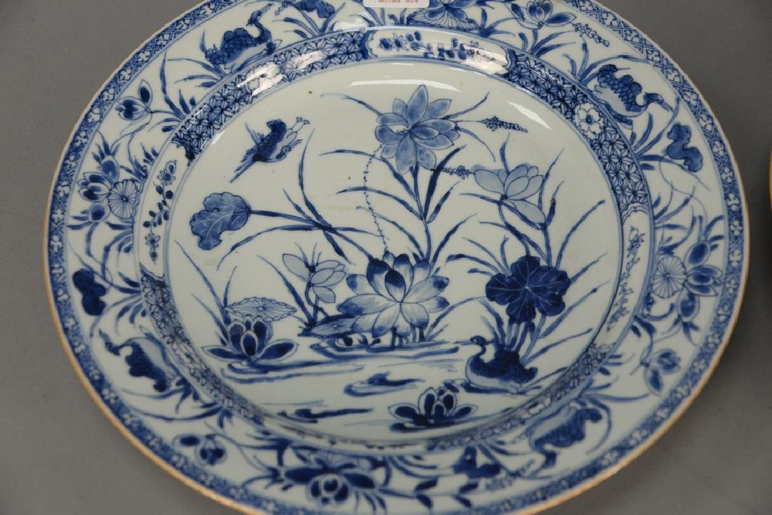 Pair of large blue and white porcelain deep chargers - 2