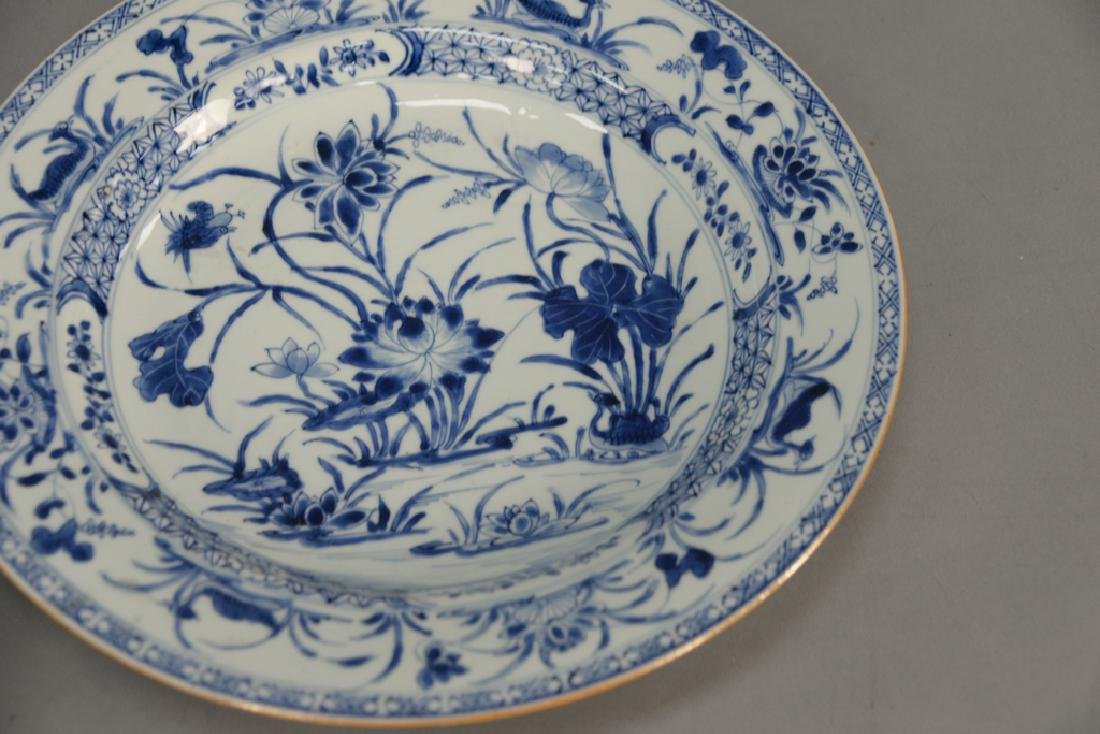 Pair of large blue and white porcelain deep chargers - 3