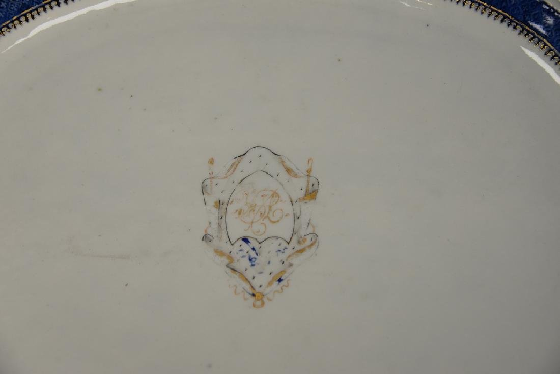 Chinese export deep platter having blue and gold - 2