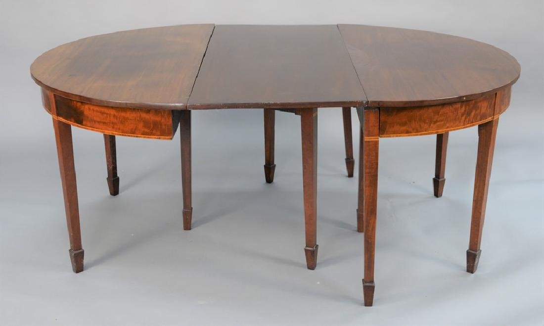 Federal mahogany two part dining table with three made