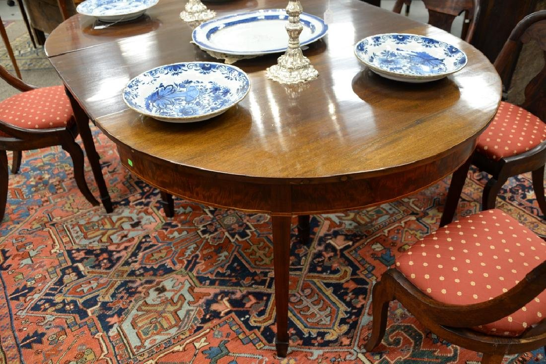 Federal mahogany two part dining table with three made - 3