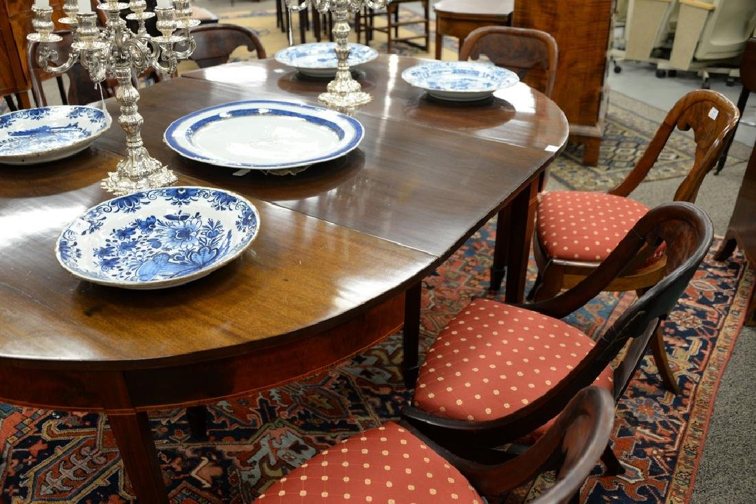 Federal mahogany two part dining table with three made - 4