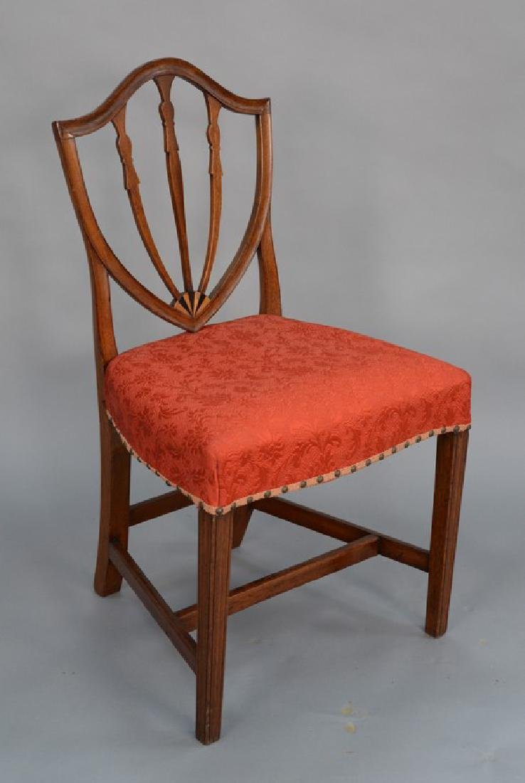 Federal mahogany side chair with shield back and inlay
