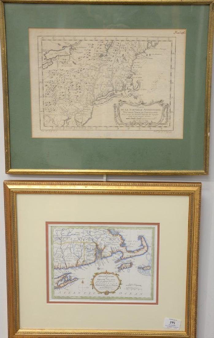 "Two early framed engraved maps including ""Carte de la"