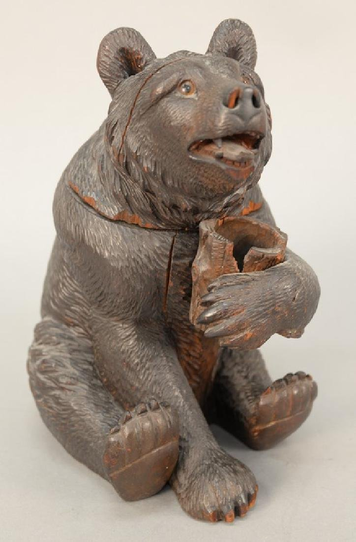 19th century carved black forest tobacco humidor bear,