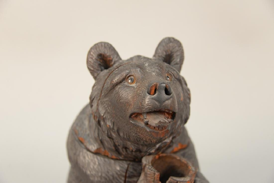 19th century carved black forest tobacco humidor bear, - 2