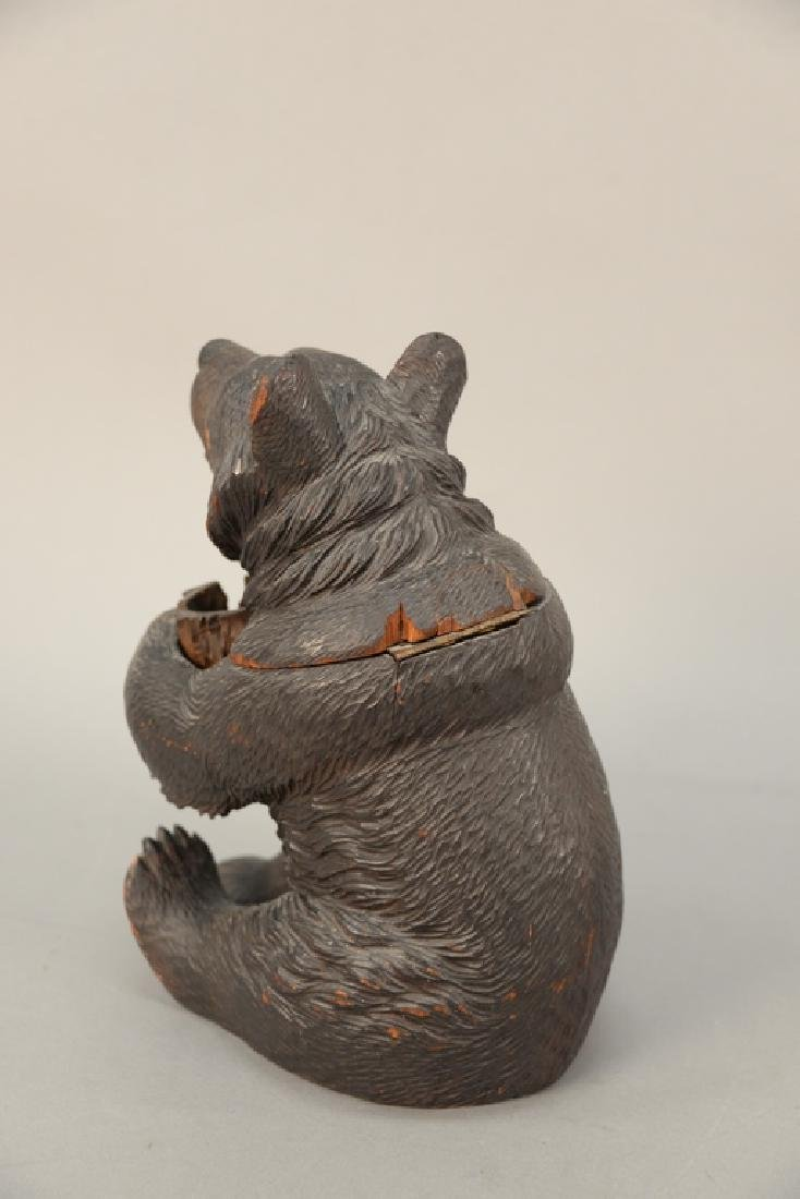 19th century carved black forest tobacco humidor bear, - 5