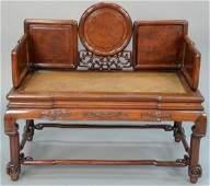 Chinese hardwood bench having burlwood panels and woven