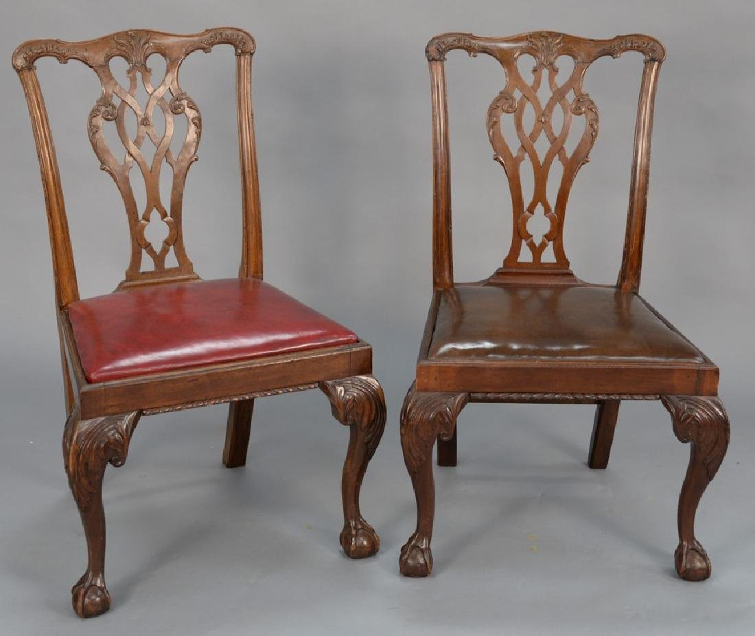 Pair of George II mahogany side chairs, England