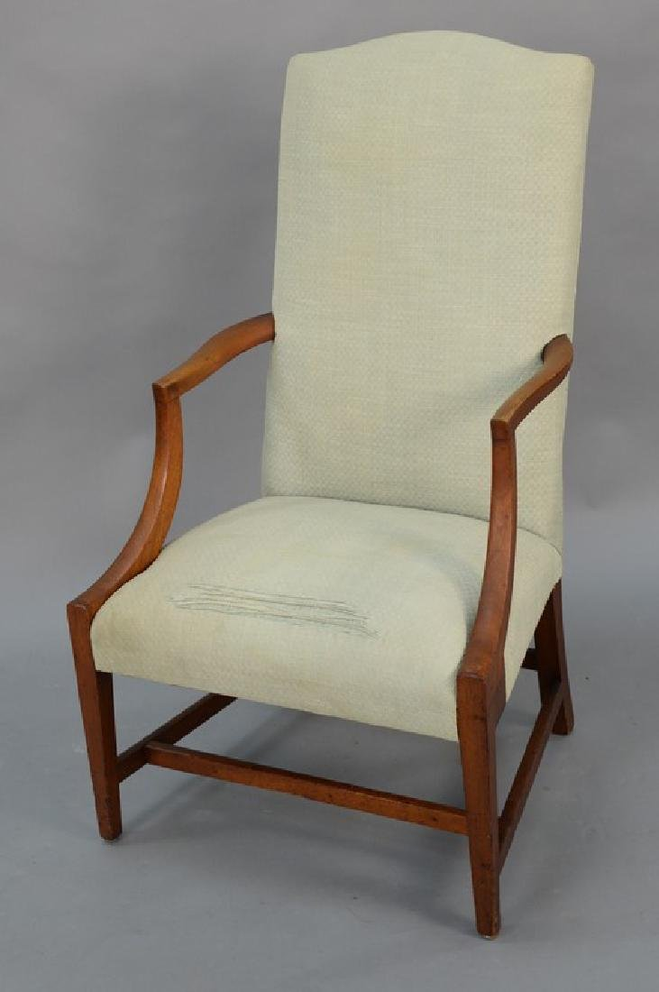 Federal mahogany upholstered chair with open arms on