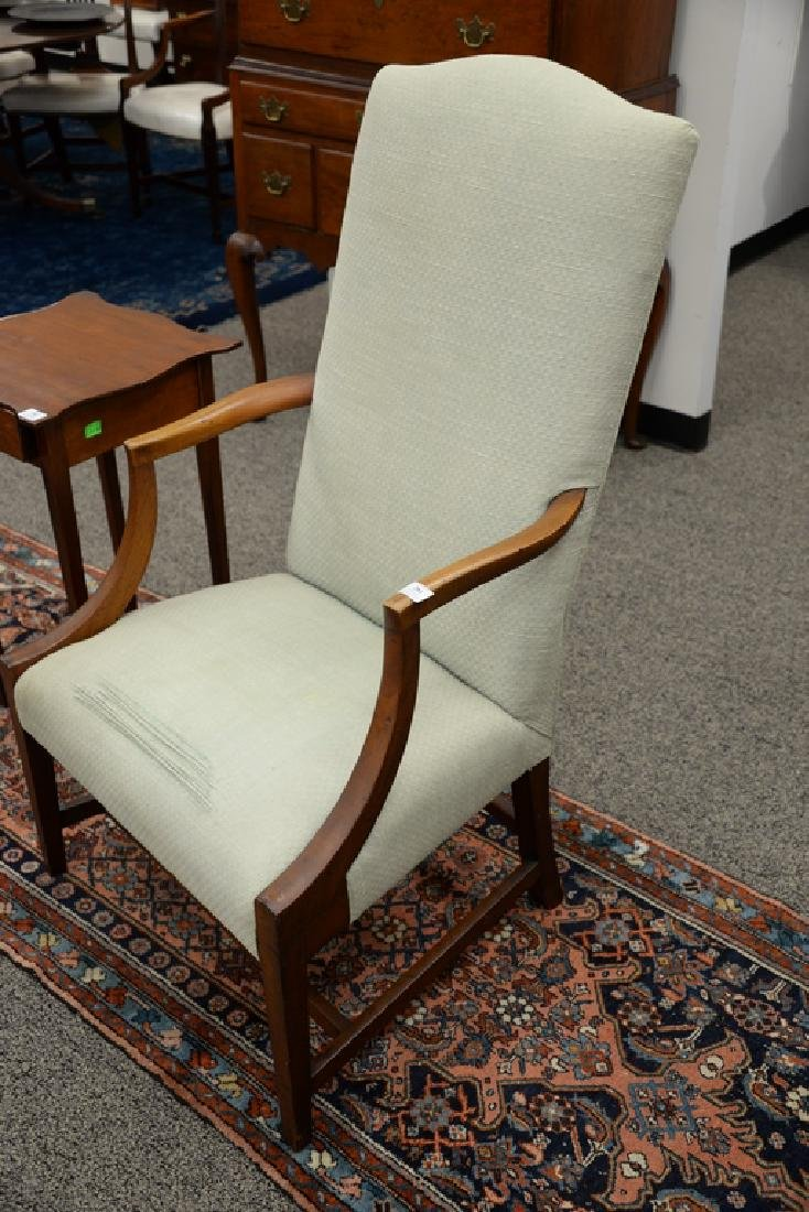 Federal mahogany upholstered chair with open arms on - 3