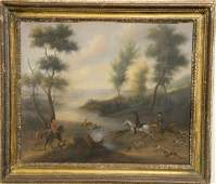 English School oil on canvas, Deer Hunt with Dogs