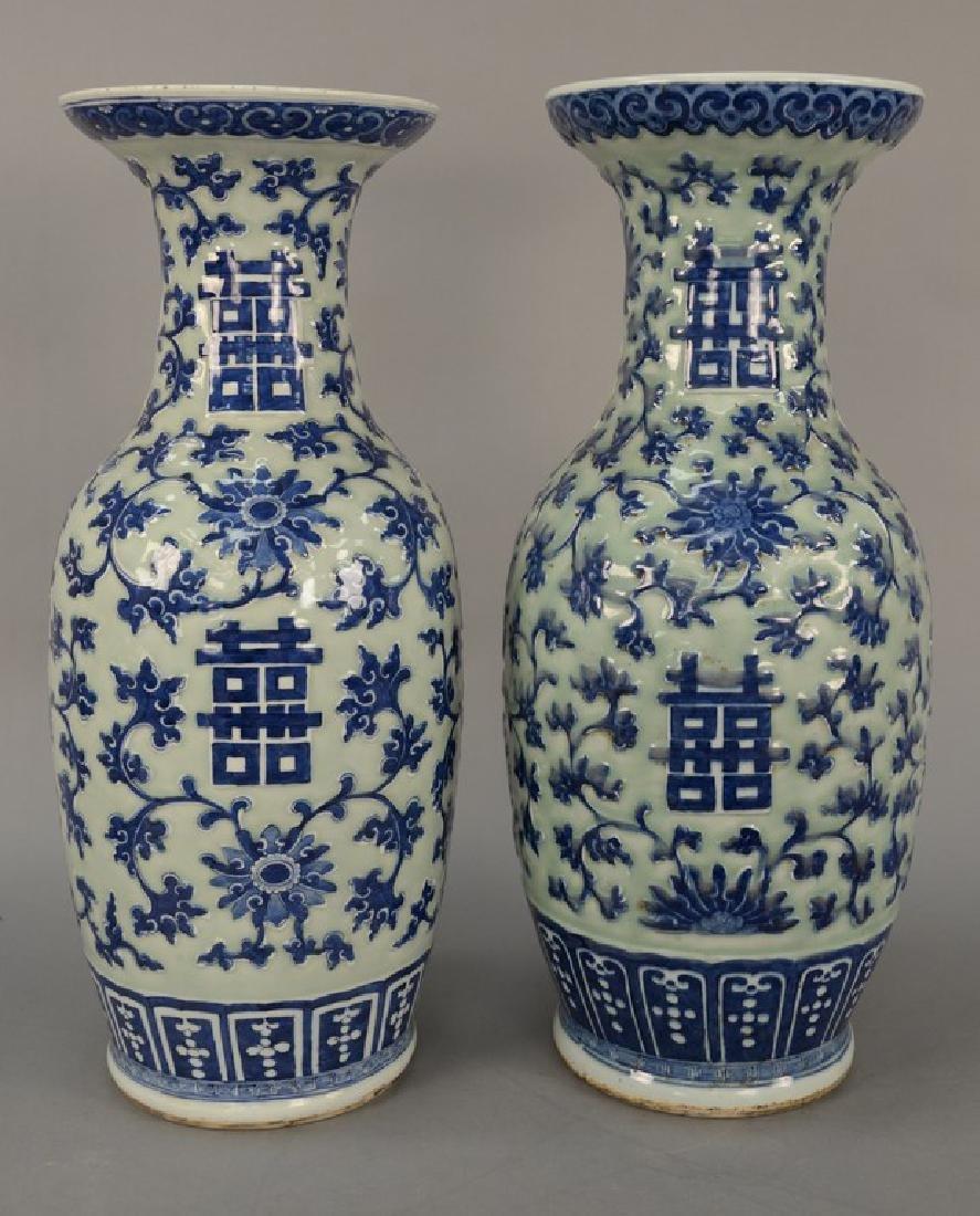 Pair of large Chinese baluster vases, celadon glazed