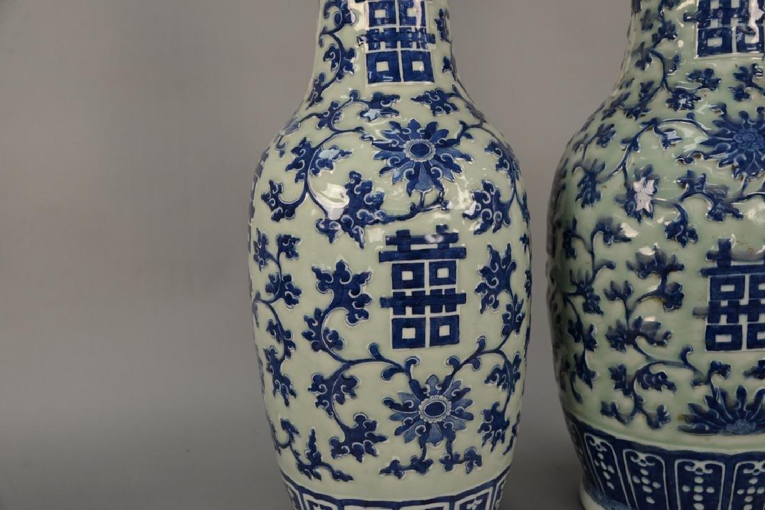 Pair of large Chinese baluster vases, celadon glazed - 2