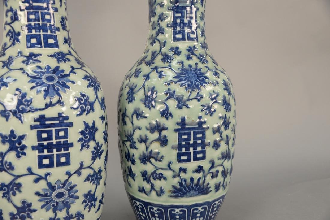 Pair of large Chinese baluster vases, celadon glazed - 3