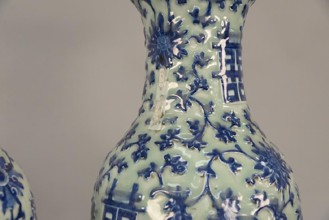 Pair of large Chinese baluster vases, celadon glazed - 5