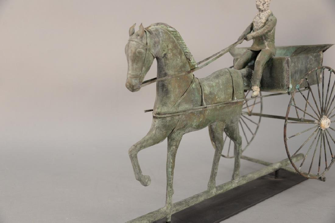 Copper weathervane, horse drawn wagon with rider having - 3