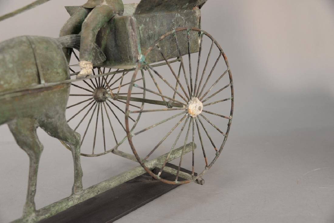 Copper weathervane, horse drawn wagon with rider having - 4