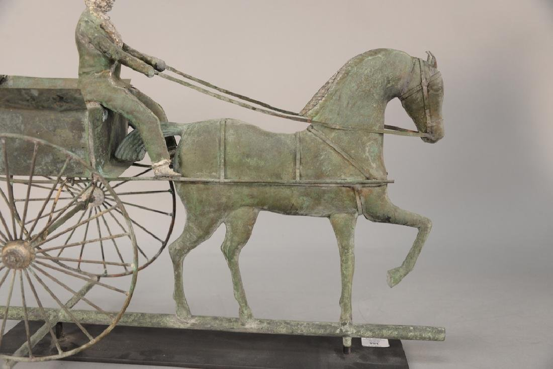 Copper weathervane, horse drawn wagon with rider having - 5