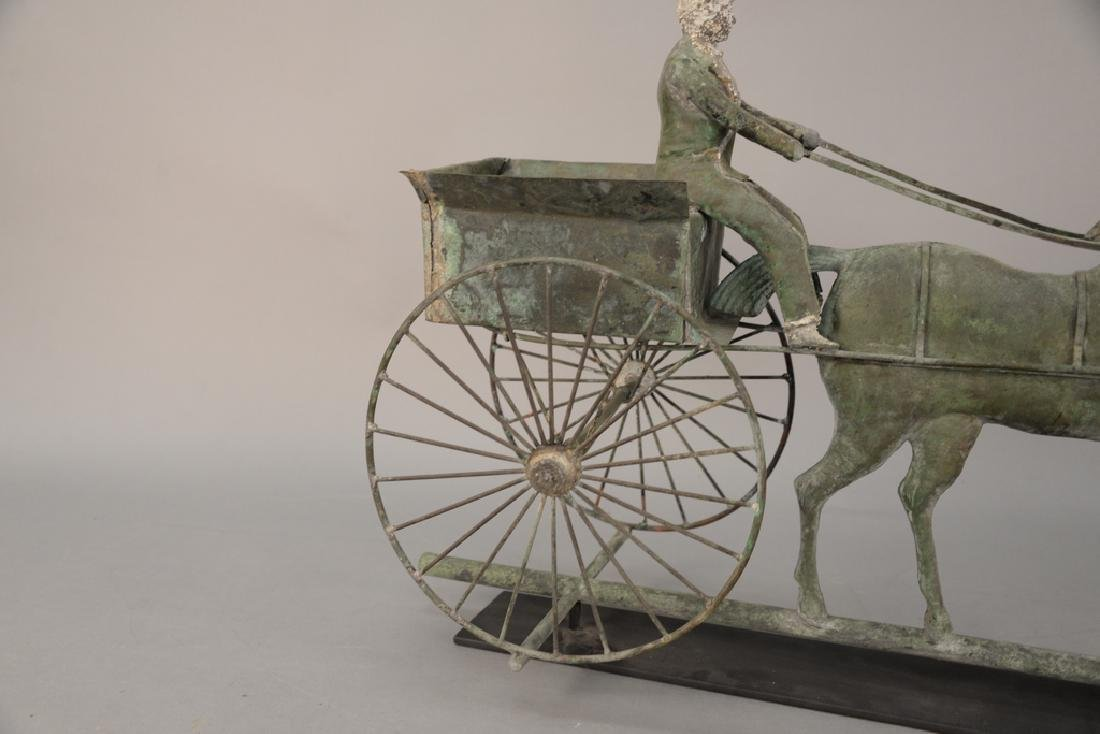 Copper weathervane, horse drawn wagon with rider having - 6