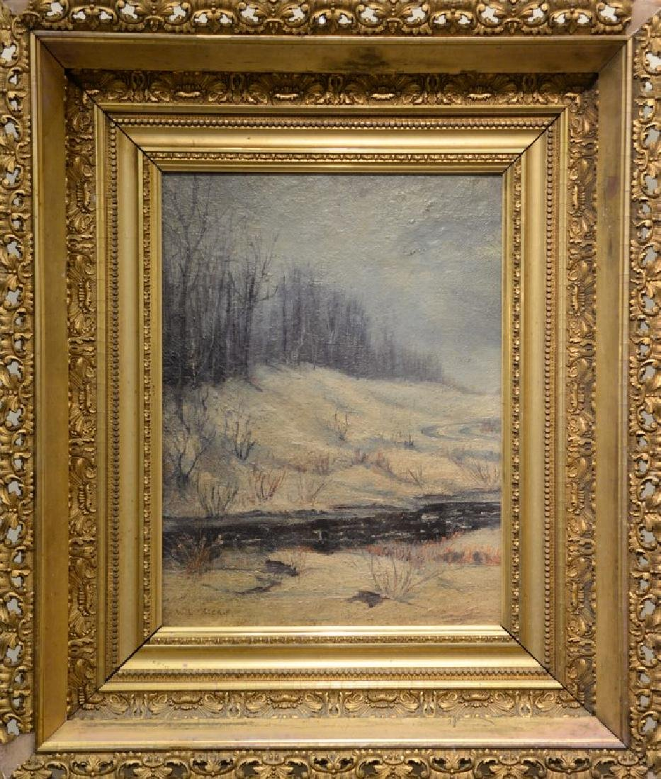 Oil on board,  winter landscape with stream, ...