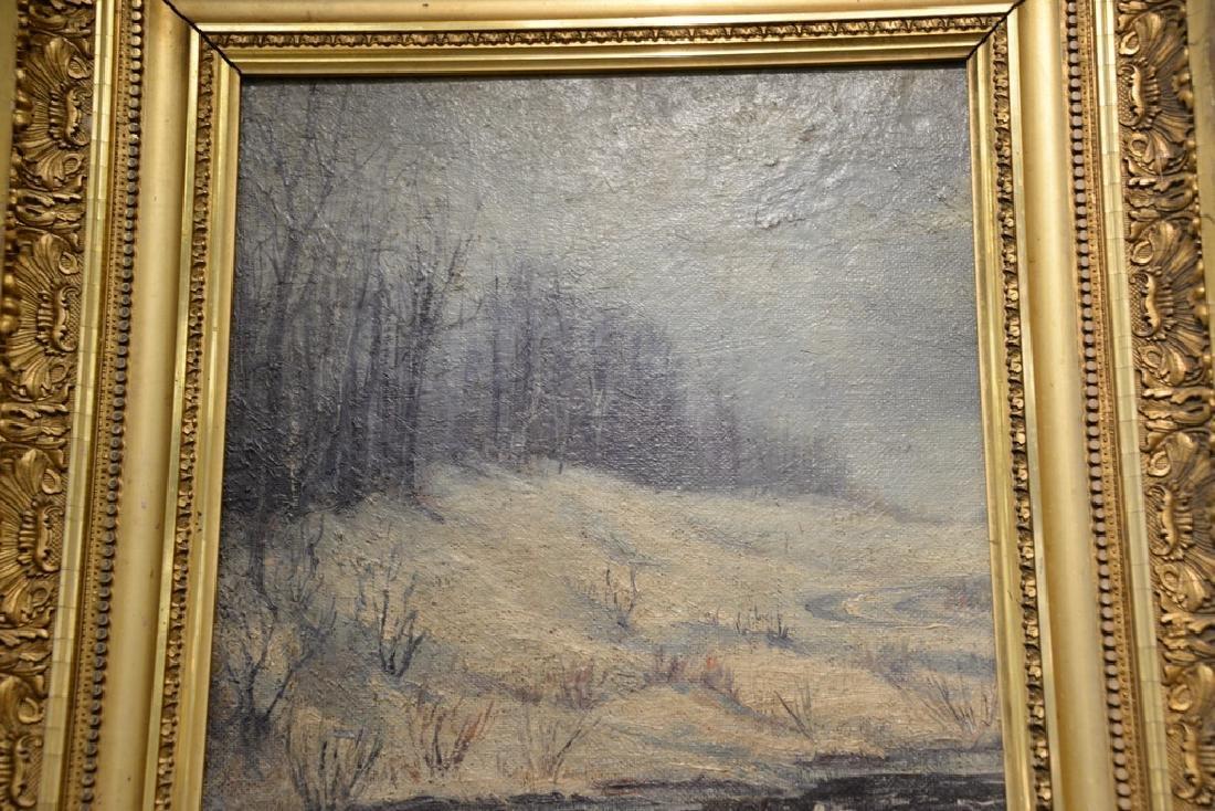 Oil on board,  winter landscape with stream, ... - 3