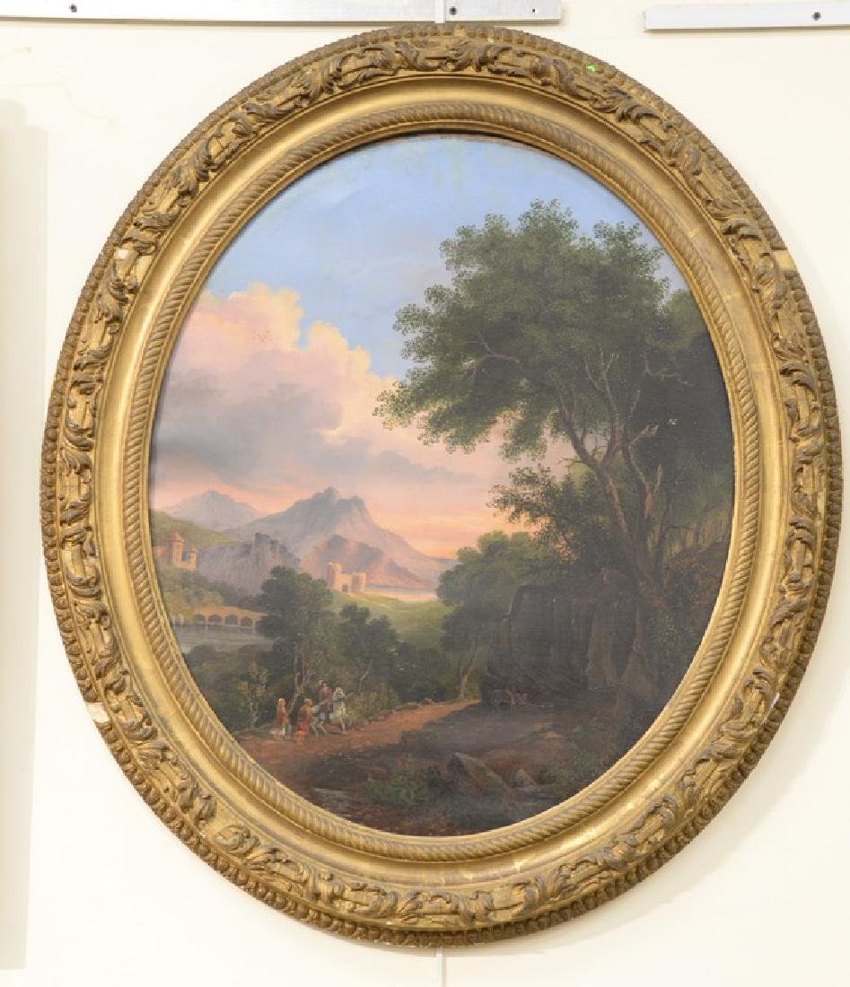 Oval oil on canvas,  mountainous landscape with sun