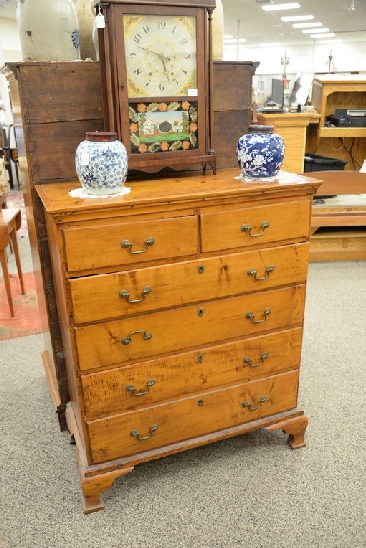 Chippendale maple tall chest having two over four - 2