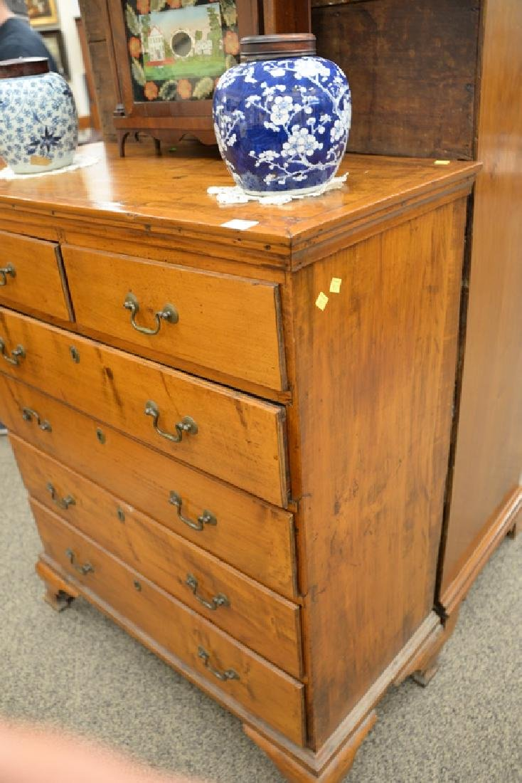 Chippendale maple tall chest having two over four - 4