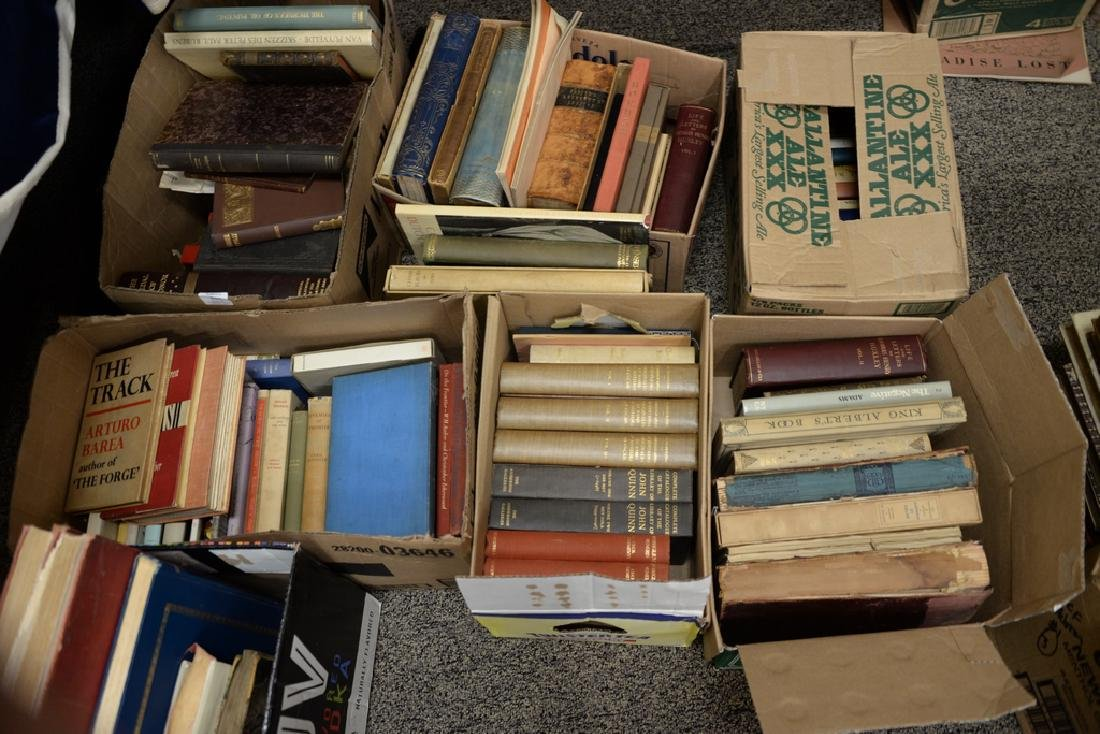 Large group of miscellaneous books, leather bound.