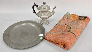 Three piece lot to include pewter teapot and charger