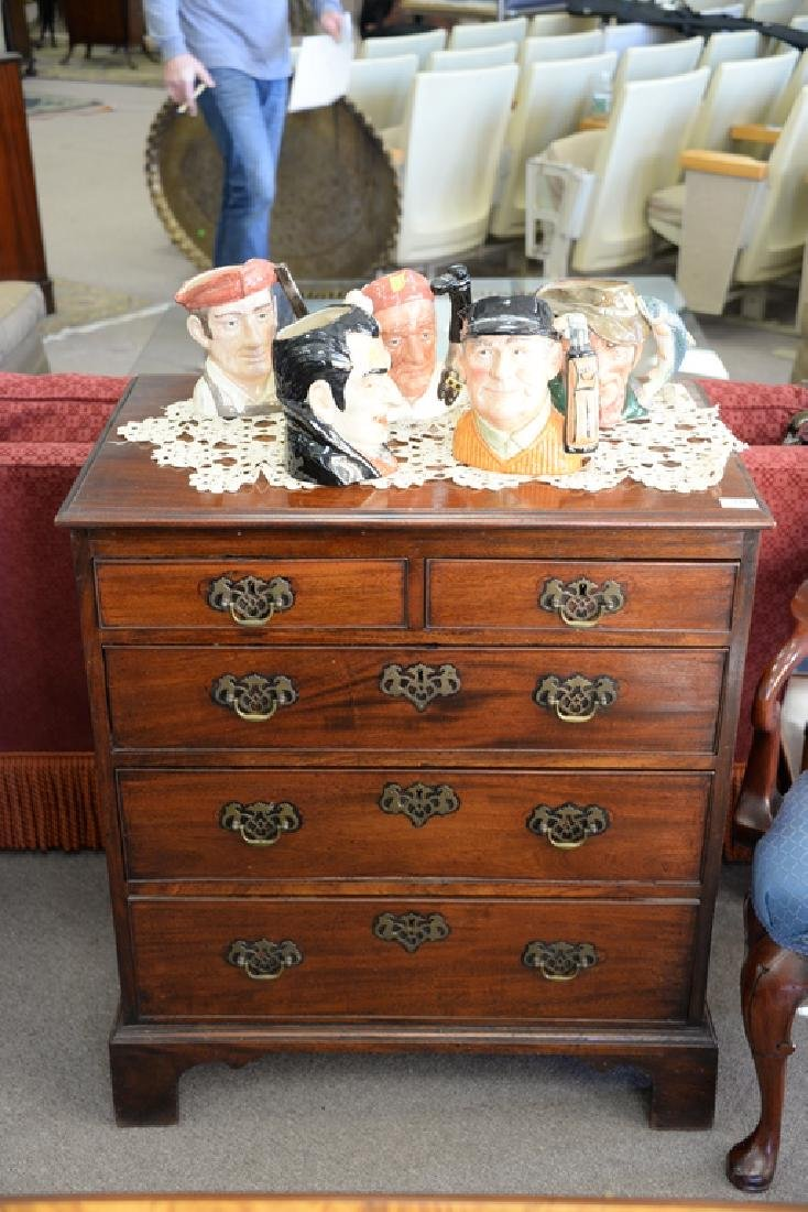 George III mahogany two over three drawer chest - 2